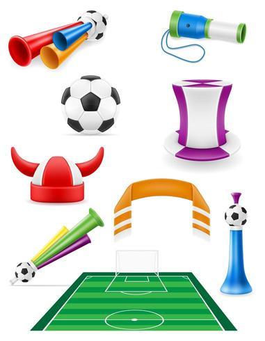 L'insieme degli elementi e degli accessori del tifoso di calcio di calcio vector l'illustrazione