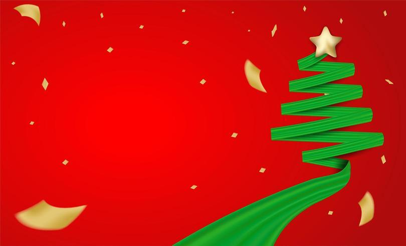 Kerstmisontwerp met groene lintkerstboom en gouden folieconfettien vector