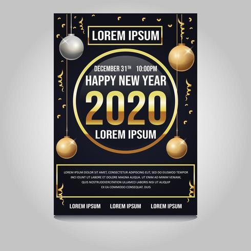 Gelukkig nieuw jaar 2020 poster vector