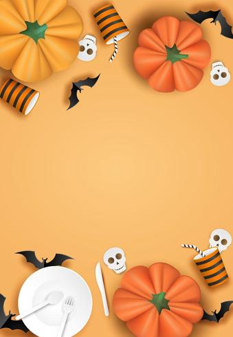 Verticaal halloween-ontwerp met servies, vleermuizen en pompoenen op oranje vector