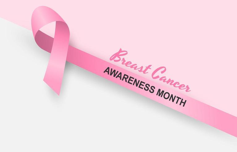 Projeto de conscientização de câncer de mama com fita rosa diagonal em fundo rosa suave