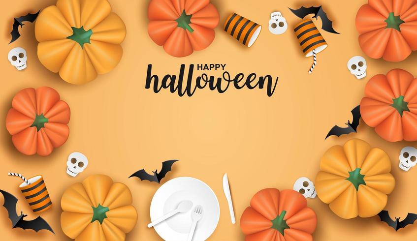Halloween-Design mit Geschirr, Fledermäusen und Kürbisen auf Orange