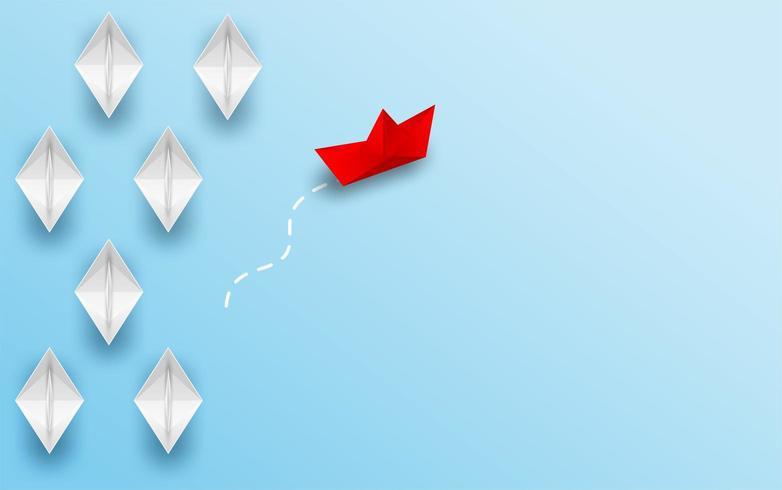 Rode papieren boot veranderende richting van Witboek boot