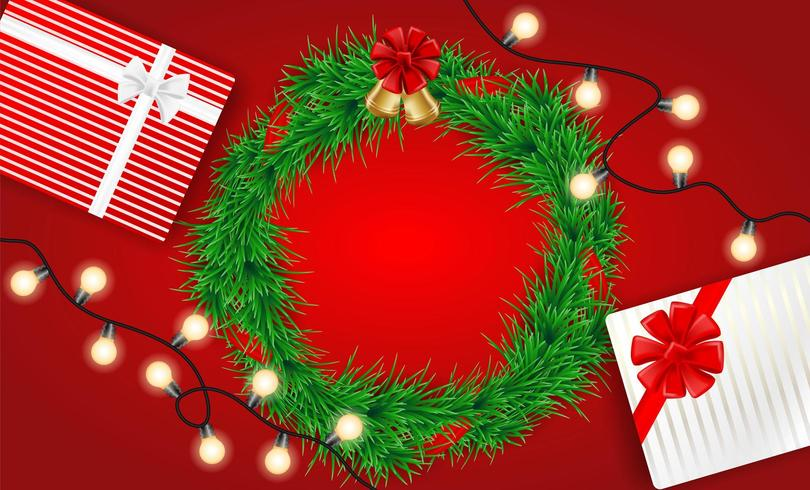 Kerst ontwerp met verlichting, krans en geschenken op rood vector