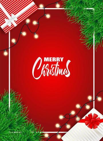 Kerstmisontwerp met Kerstmisboom en giftdozen op rood vector