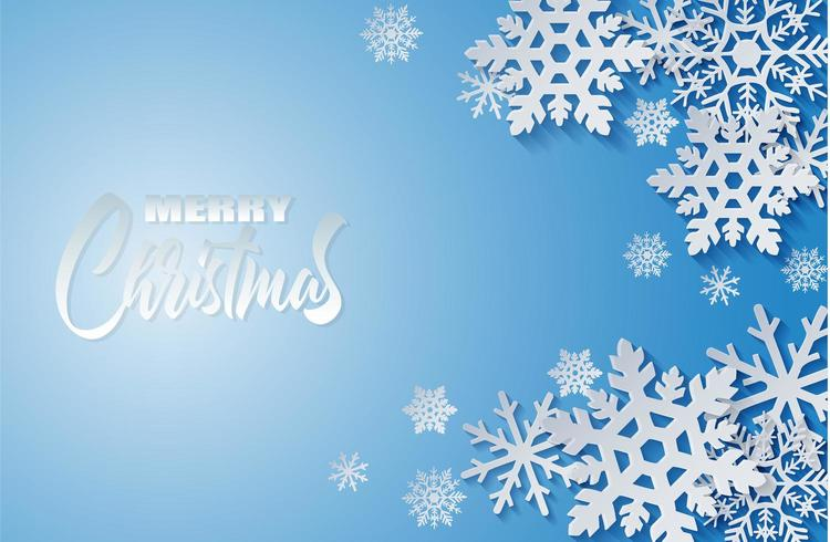Merry Christmas design with paper art style white snowflakes blue