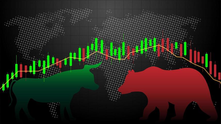 Mercado alcista vs. Gráfico de gráfico de palo de vela del mercado bajista vector