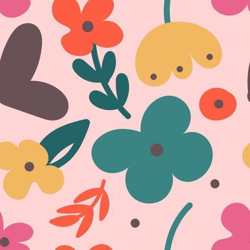 Abstract kleurrijk bloemenpatroon met moderne vormen vector