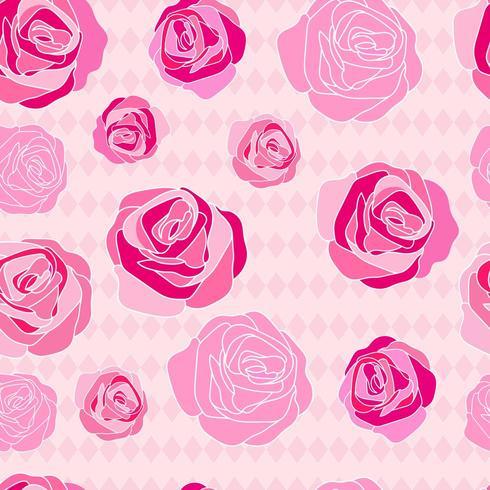 Roze roos hand getekend patroon vector