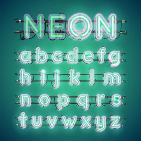 Realistisch gloeiend dubbel neon charcter aan en uit vector