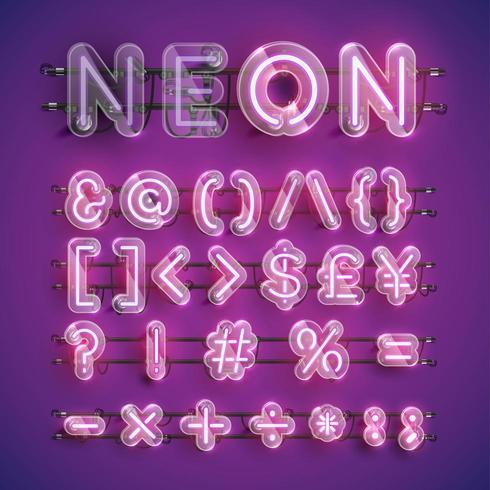 Serie di caratteri al neon porpora realistica con la custodia in plastica intorno, illustrazione di vettore