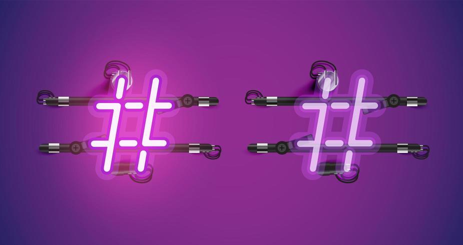 Realistisch gloeiend paars neon charcter aan en uit vector