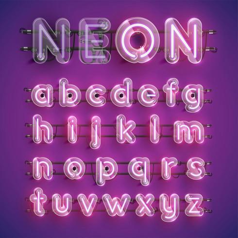 Personnage réaliste néon violet sertie d'un boîtier en plastique autour, illustration vectorielle