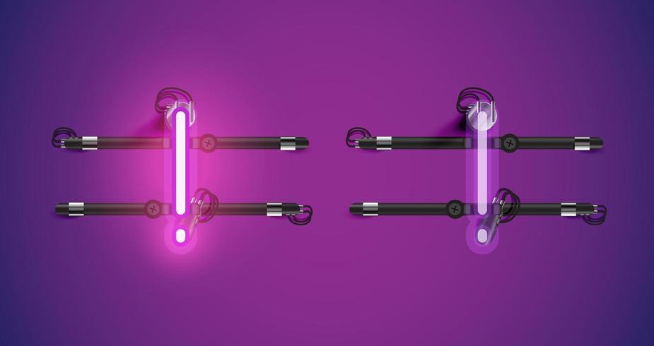 Charcter de neón púrpura brillante realista dentro y fuera