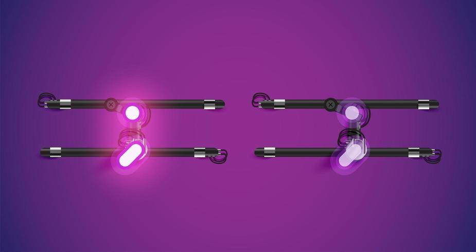 Realista brilhante roxo neon charcter dentro e fora