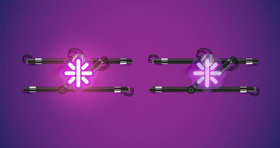 Realistisch leuchtendes lila Neonlicht an und aus