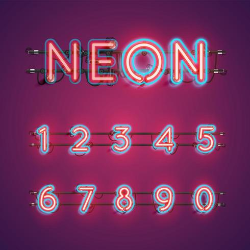 Two coloured double stroke neon character set vector illustration