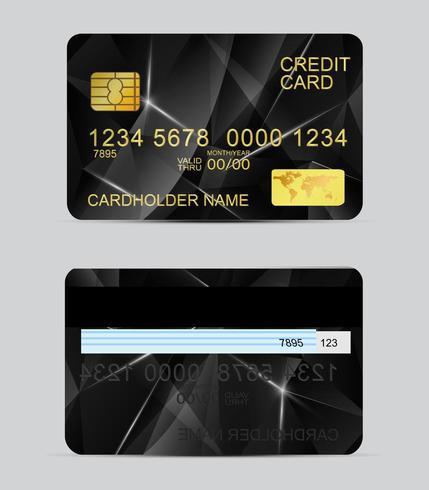 Realistische Kreditkartenschablonen der Polygonbeschaffenheit
