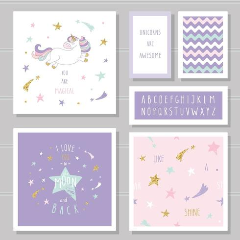 Cute cards with unicorn and gold glitter stars.