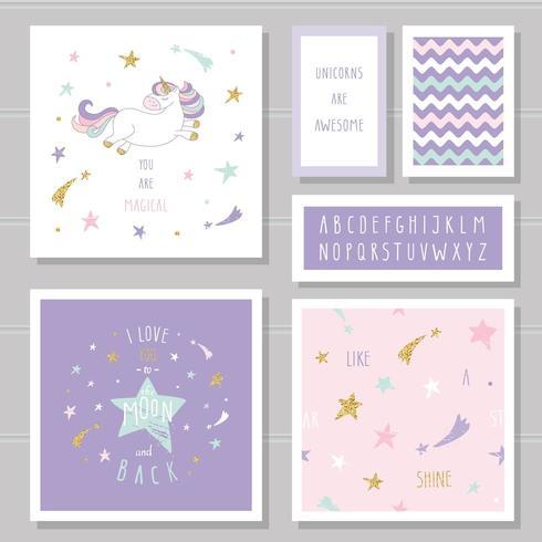 Lindas tarjetas con unicornio y estrellas doradas.