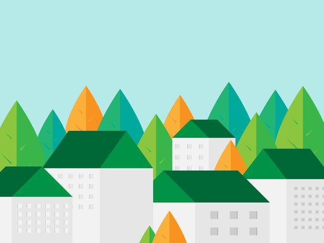 Gebäude mit grünem Dach und grünem Blatt