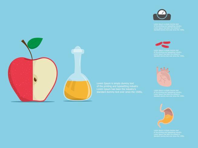 Apfelessig und die Hälfte eines Apfels mit Vorteil