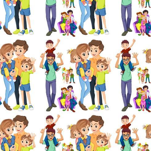 Famille homogène avec parents et enfants