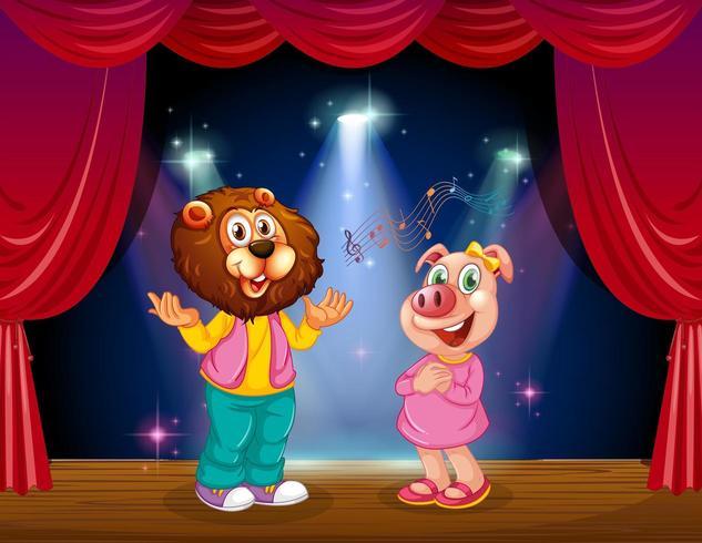 Tiere treten auf der Bühne auf