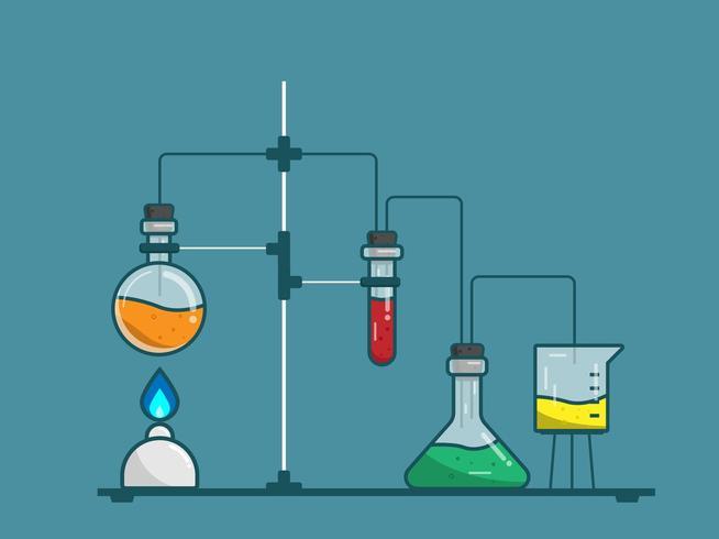 scienza ed educazione delle prove di attrezzatura chimica del laboratorio vettore