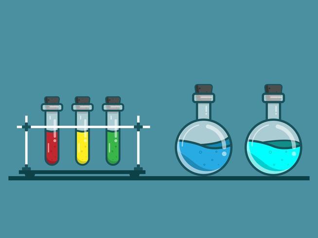 laboratory glassware vector flat design