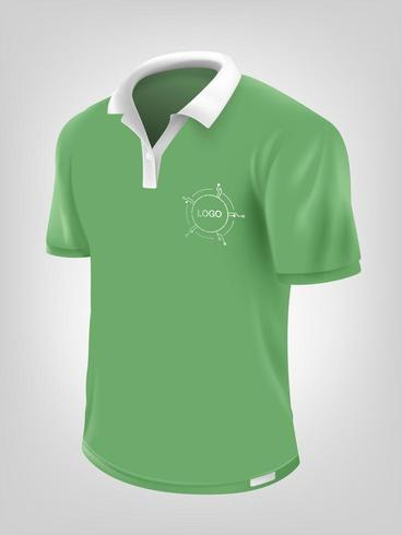 Green polo shirt mock up vector