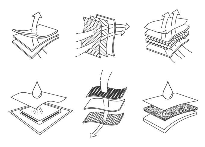Schwarzweiss-Zeichnung von Schichten saugfähigen Geweben