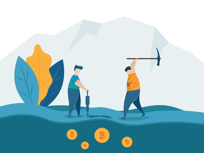 Minería para el concepto de moneda criptográfica de bitcoins vector