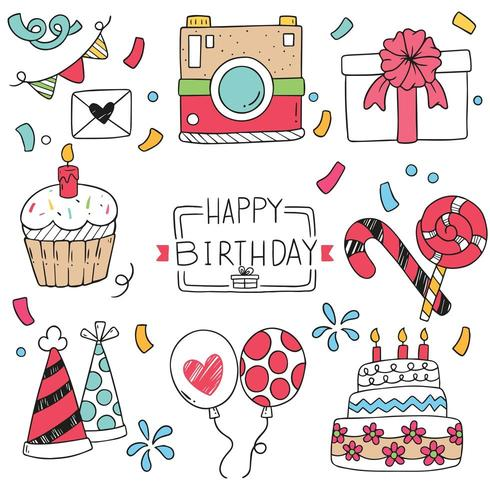 Feliz aniversário doodle ornamentos vetor
