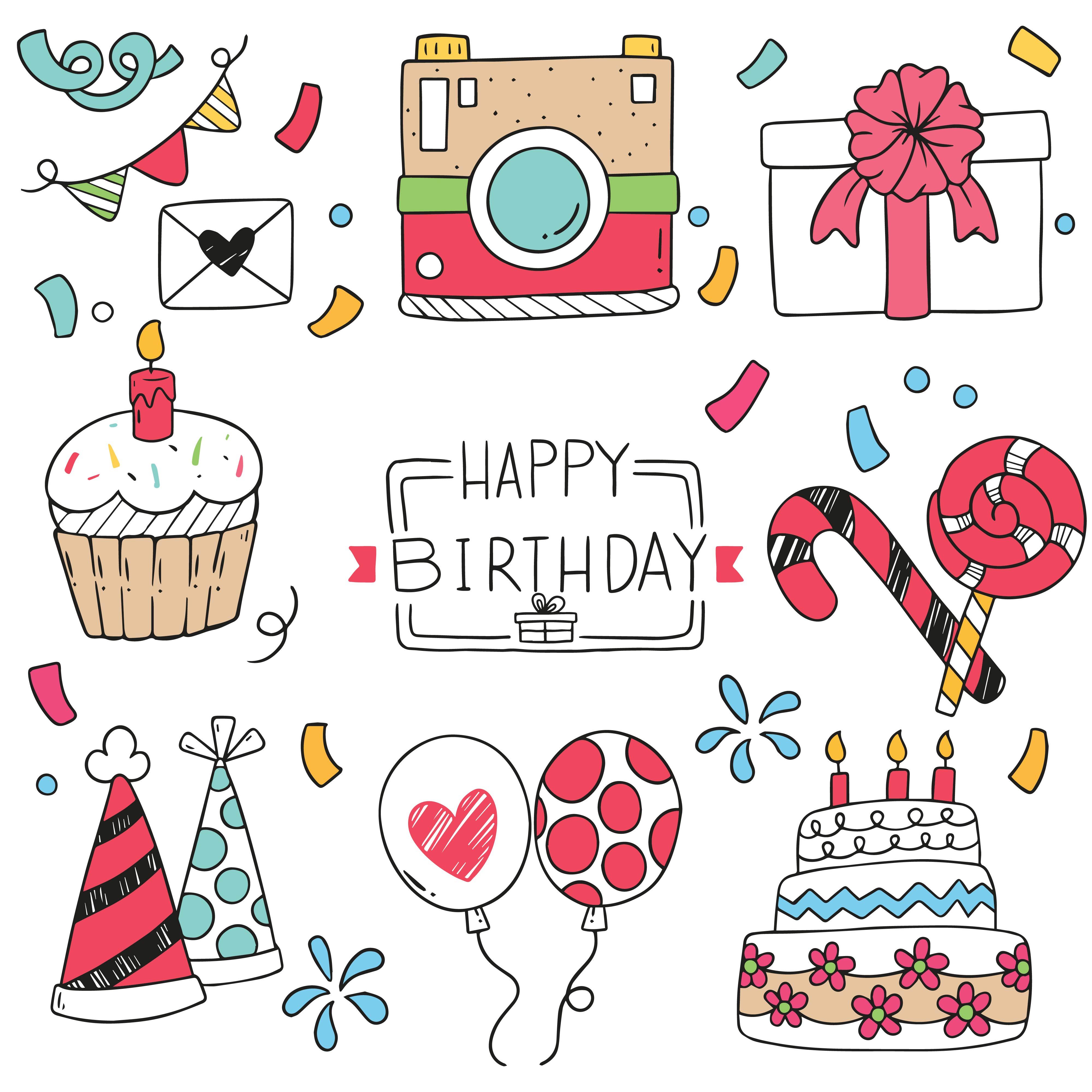 Happy birthday doodle Ornaments - Download Free Vectors ...