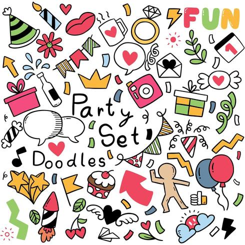 hand drawn doodle party Ornaments  vector