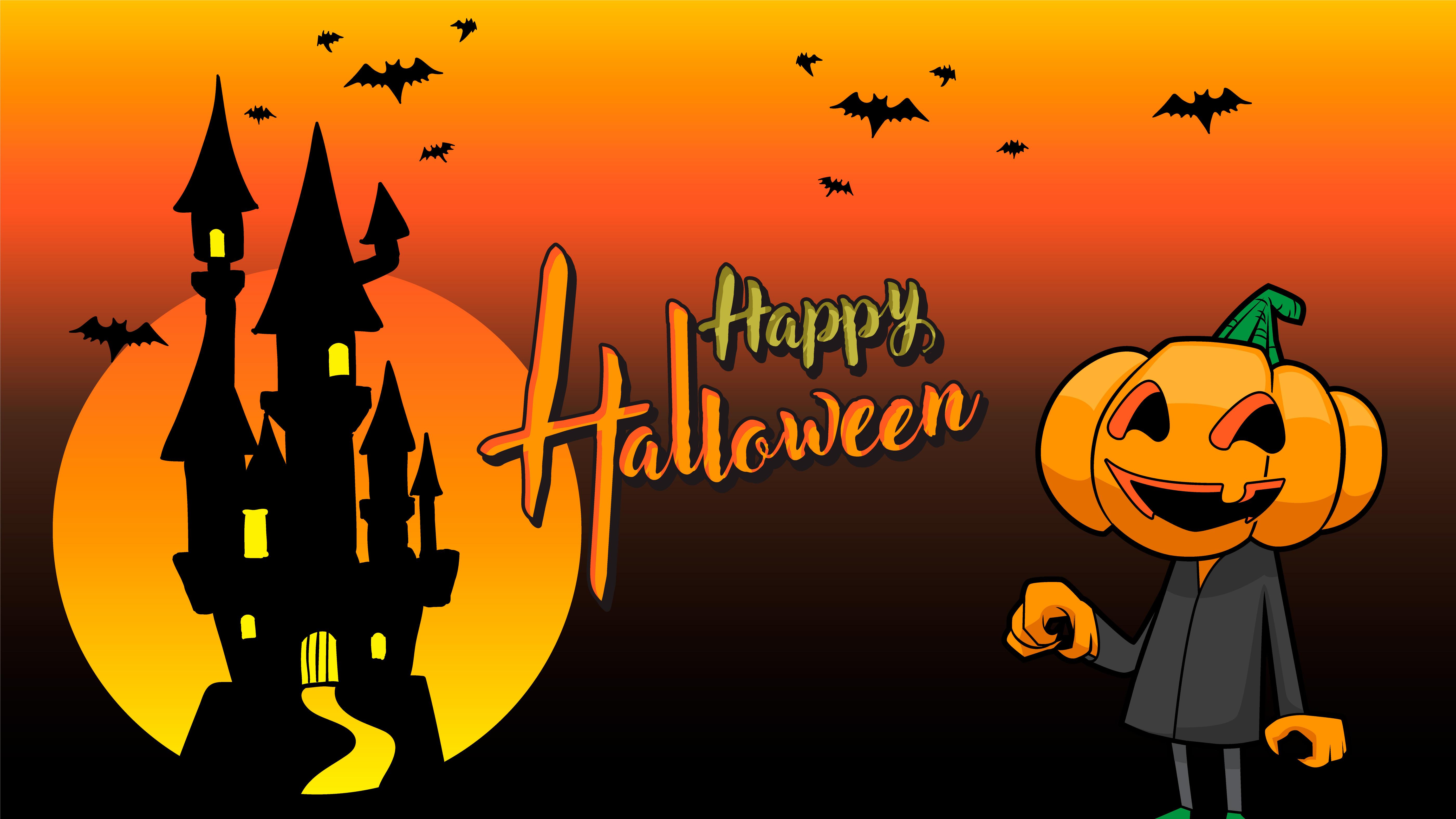 pumpkin happy halloween orange background 32 Vector Art at ...