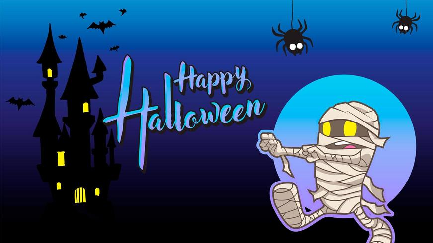 mummie happy halloween blauwe achtergrond