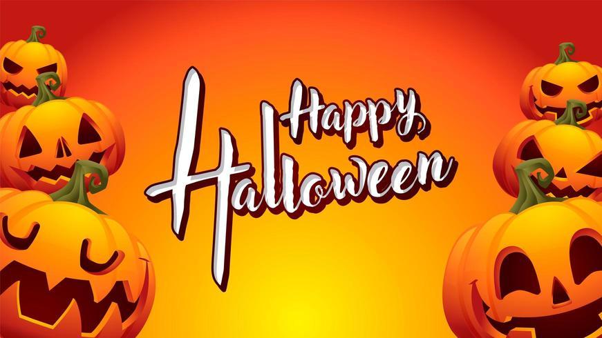 pumpkin happy halloween orange background vector