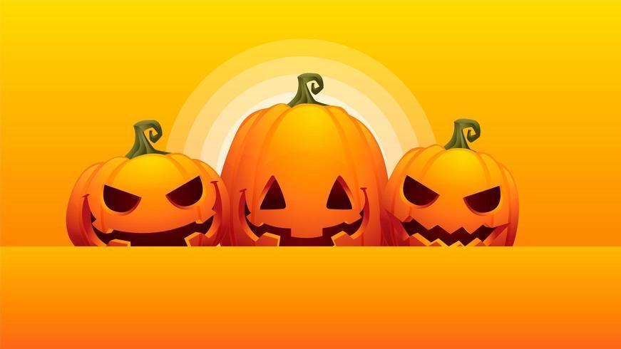 three pumpkins halloween orange background vector