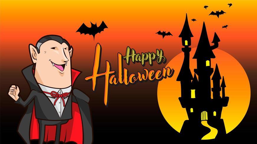 dracula happy halloween orange background vector
