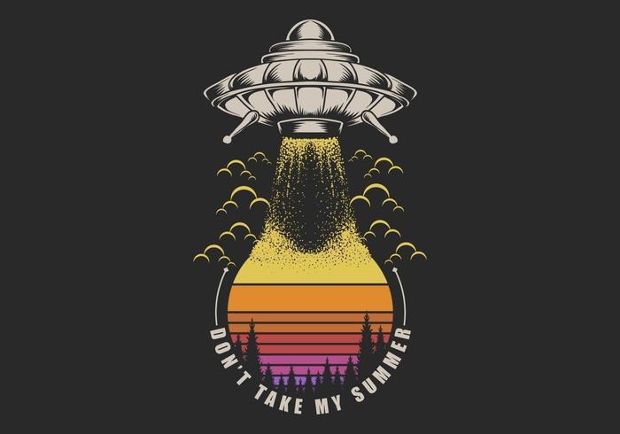 UFO Taking Sunset retro illustration vector