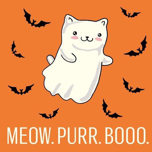 Cartão de dia das bruxas com gato como fantasma kawaii. vetor