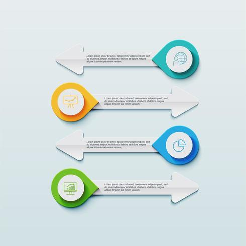 Geschäft Infografiken Vorlage mit Pfeilen