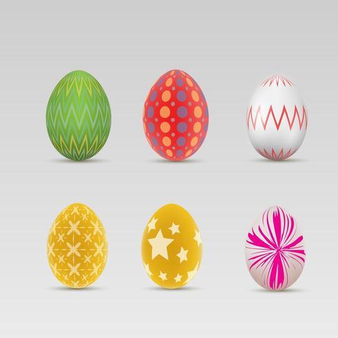 Joyeuses Pâques Ensemble d'oeufs de Pâques colorés