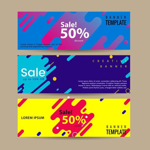 Abstract motion banners. Colorful geometric shapes composition. vector