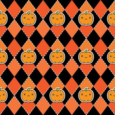 Nahtloses Halloween-Muster mit Kürbisen auf schwarzem und orange Hintergrund argyle.