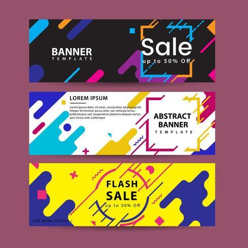 Banners de movimiento abstracto. Composición colorida de formas geométricas vector