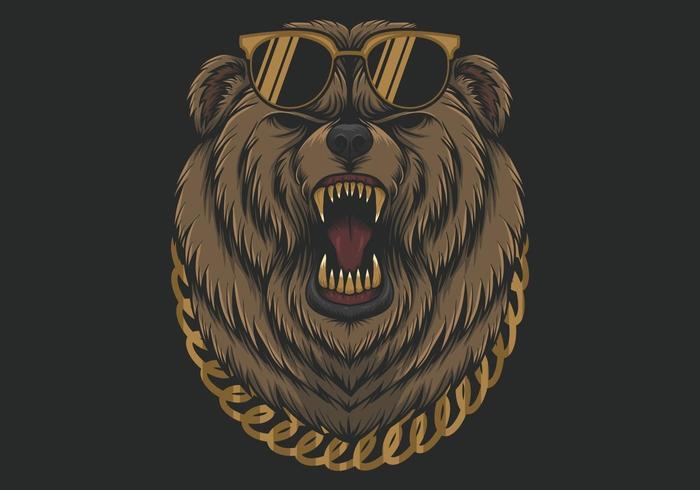 Urso com raiva legal com óculos de sol e colar