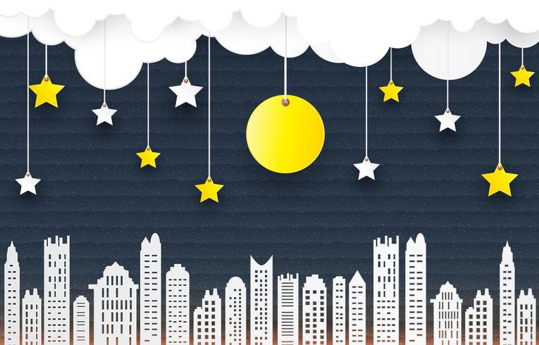 Cidade escura de papel com céu noturno
